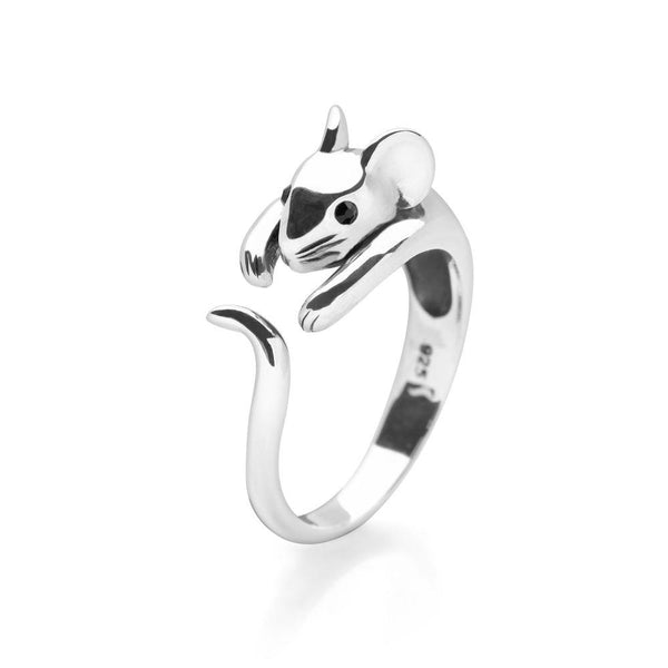 925 sterling silver mouse wrap ring with black faceted eyes