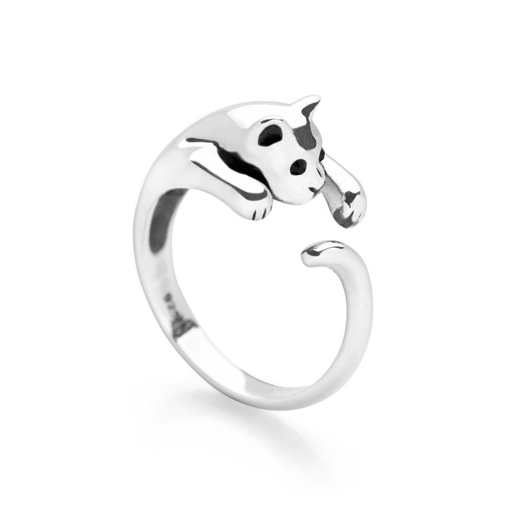 925 sterling silver cat wrap ring with black faceted eyes