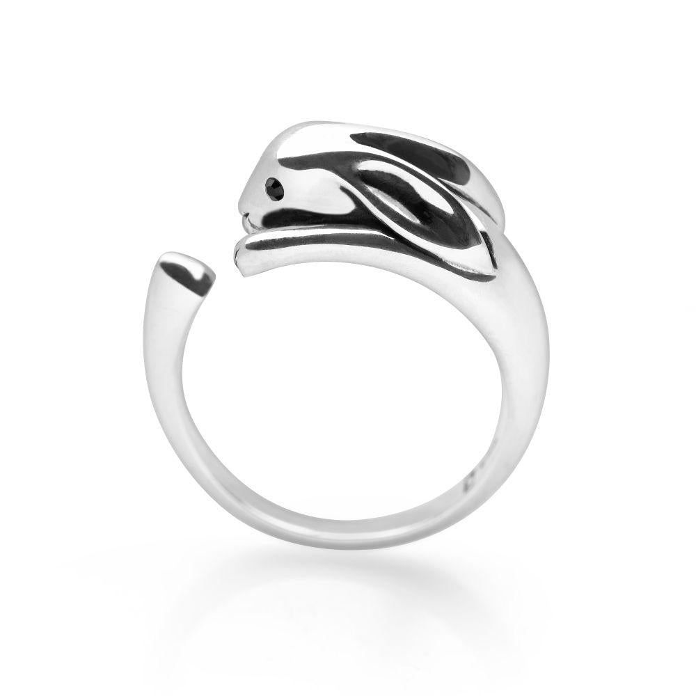 925 sterling silver rabbit wrap ring with black faceted eyes