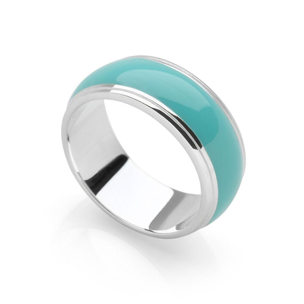 Silver band with wide blue-green resin middle