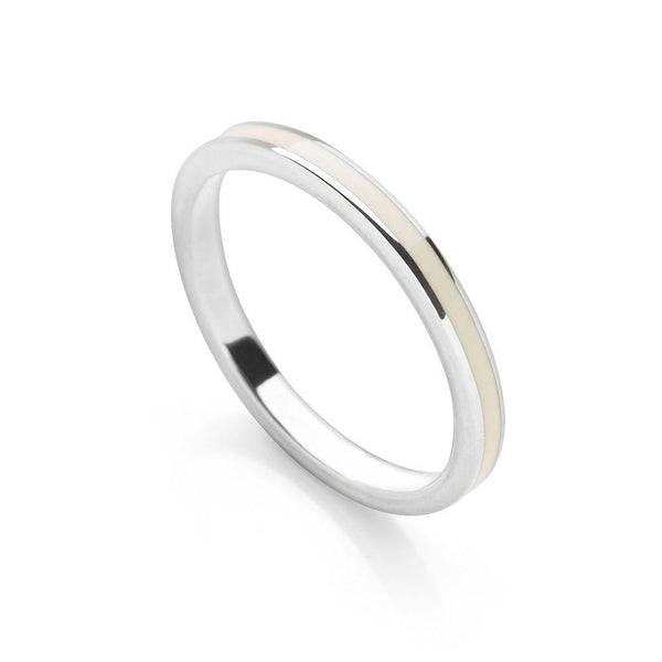 Cream coloured enamel with polished 925 sterling silver finish stackable ring