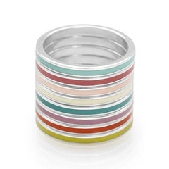 Stack of coloured enamel with polished 925 sterling silver rings