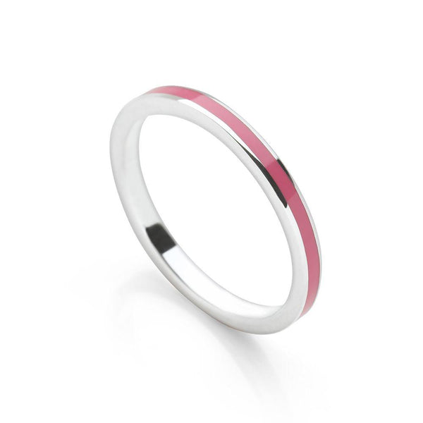 Fuchsia pink coloured enamel with polished 925 sterling silver stack ring