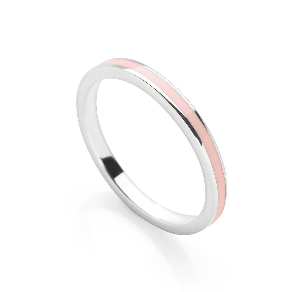 Ice pink coloured enamel with polished 925 sterling silver finish stackable ring