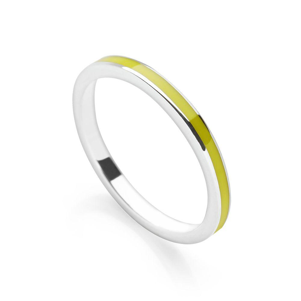 Lime green coloured enamel with polished silver finish stackable ring