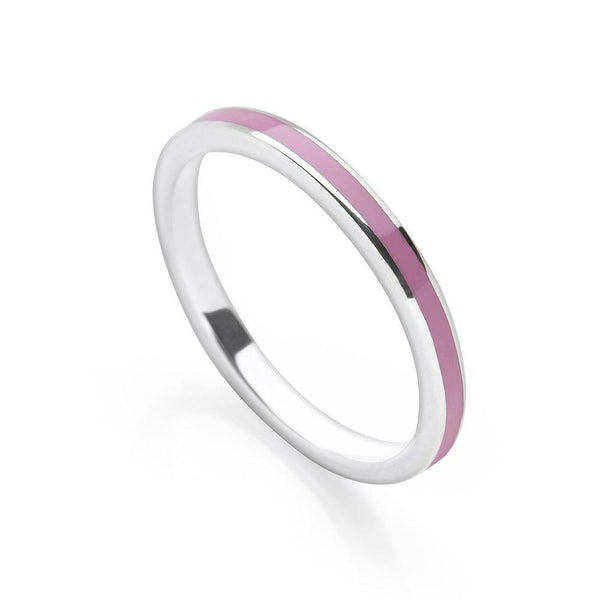 925 sterling silver stack ring with soft purple coloured enamel (R17141)