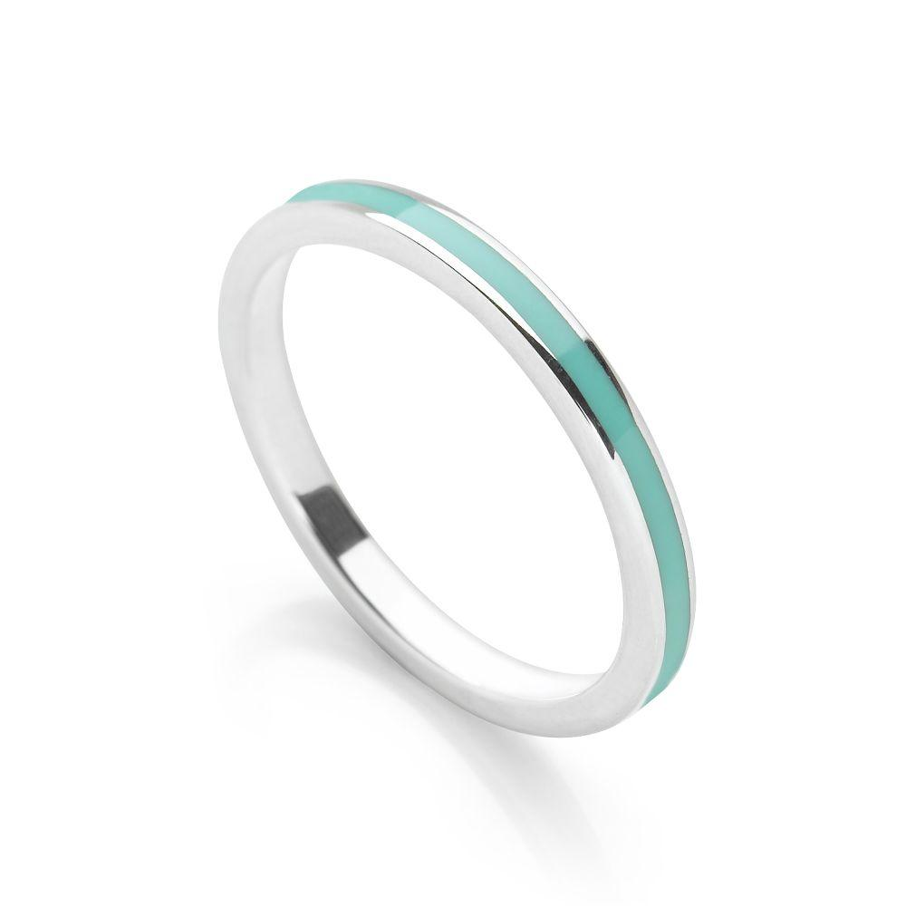 Turquoise blue coloured enamel with polished silver finish stackable ring