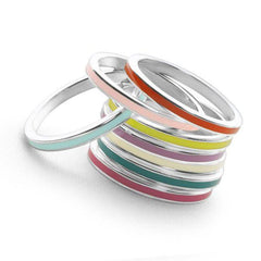 Stack of 925 sterling silver stack rings with coloured enamel middles.
