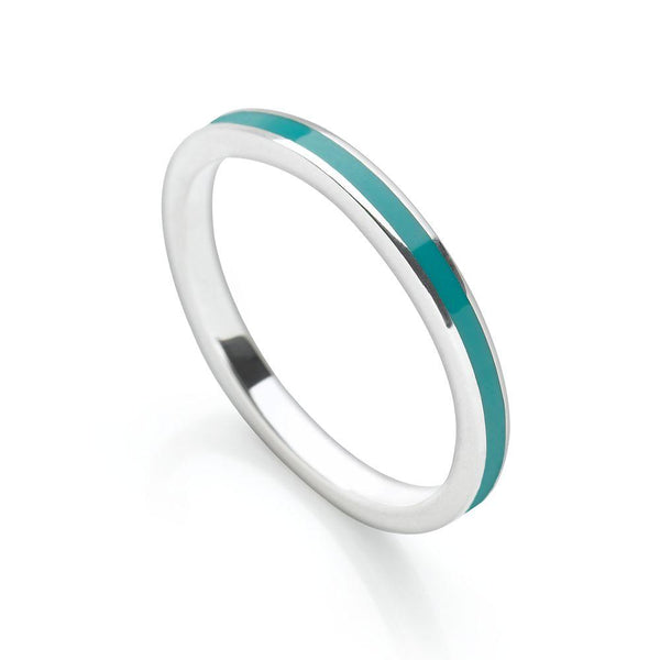 Petrol blue coloured enamel with polished 925 sterling silver finish stackable ring (R17161)
