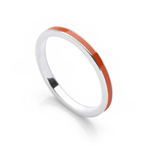925 sterling silver stack ring with orange coloured enamel (R17171)