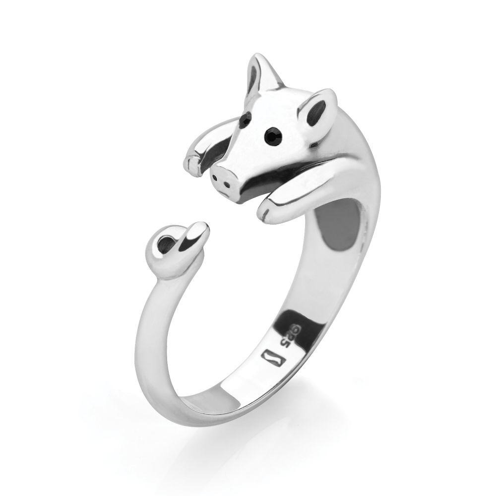925 sterling silver piggy wrap ring with faceted black glass eyes