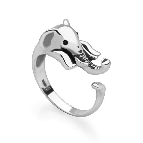 925 sterling silver elephant wrap ring with black faceted eyes