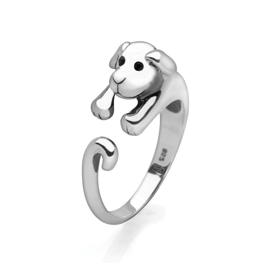 925 sterling silver doggy wrap ring with faceted black glass eyes
