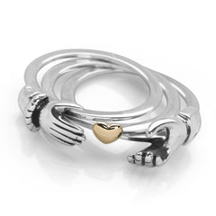 925 sterling silver triple band Claddagh style ring with hands that hide a gold plated heart inside (R18241)
