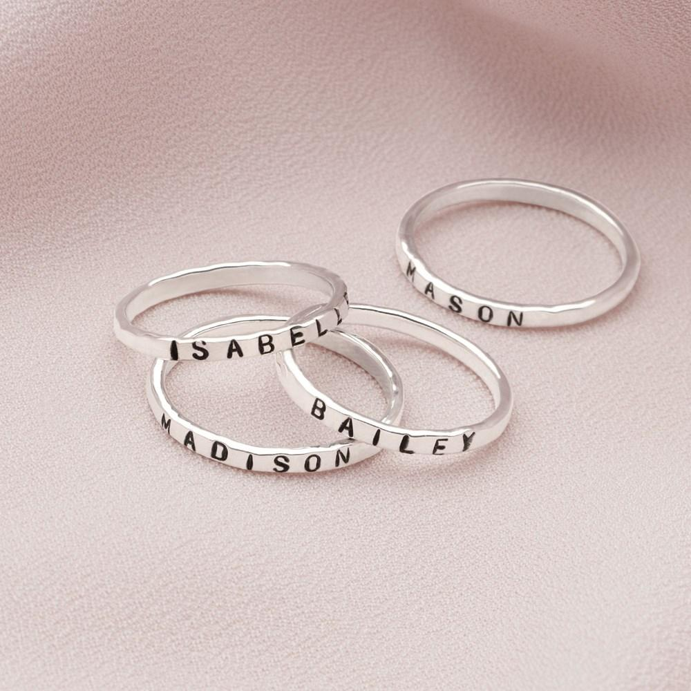 925 sterling silver personalised hammered ring (R18291)