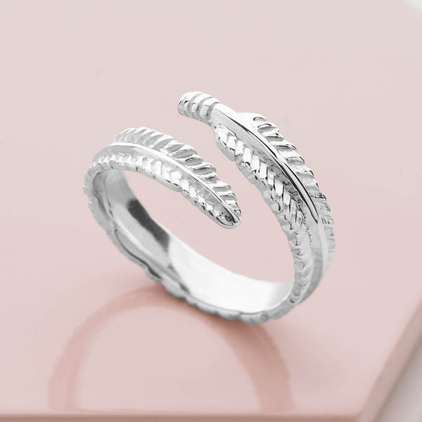 925 sterling silver feather wrap ring (R19231)