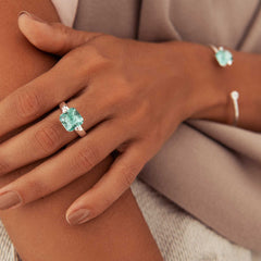 Model wearing Green Obsidian,set in twin 925 sterling silver clasp ring (R20251)