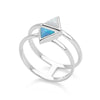 925 sterling silver double band with 2 synthetic blue & white opal triangles ring (R20531)