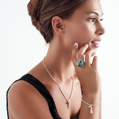 Model wearing Green Obsidian,set in twin 925 sterling silver clasp ring