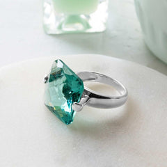 Green Obsidian,set in twin 925 sterling silver clasp ring
