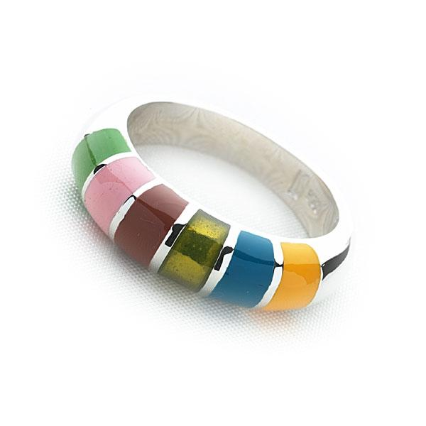 925 sterling silver ring with a rainbow of coloured enamel. (R5261)