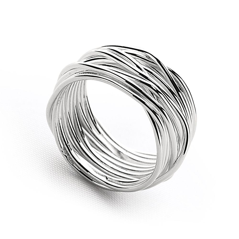 Delicate silver strands wrap countless times to create the look of a designer find. Just one twist presents a whole new look from every angle. Width: 10mm.