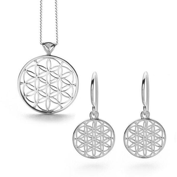 925 Sterling silver flowers of life pendant & earrings set