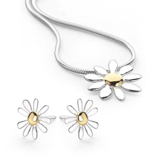 925 sterling silver daisy with gold-plated middle pendant & earring set