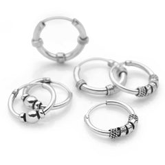 925 Sterling Silver Deco Hoop Set (SET7961)