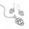 925 sterling silver sugar skull earring & pendant set