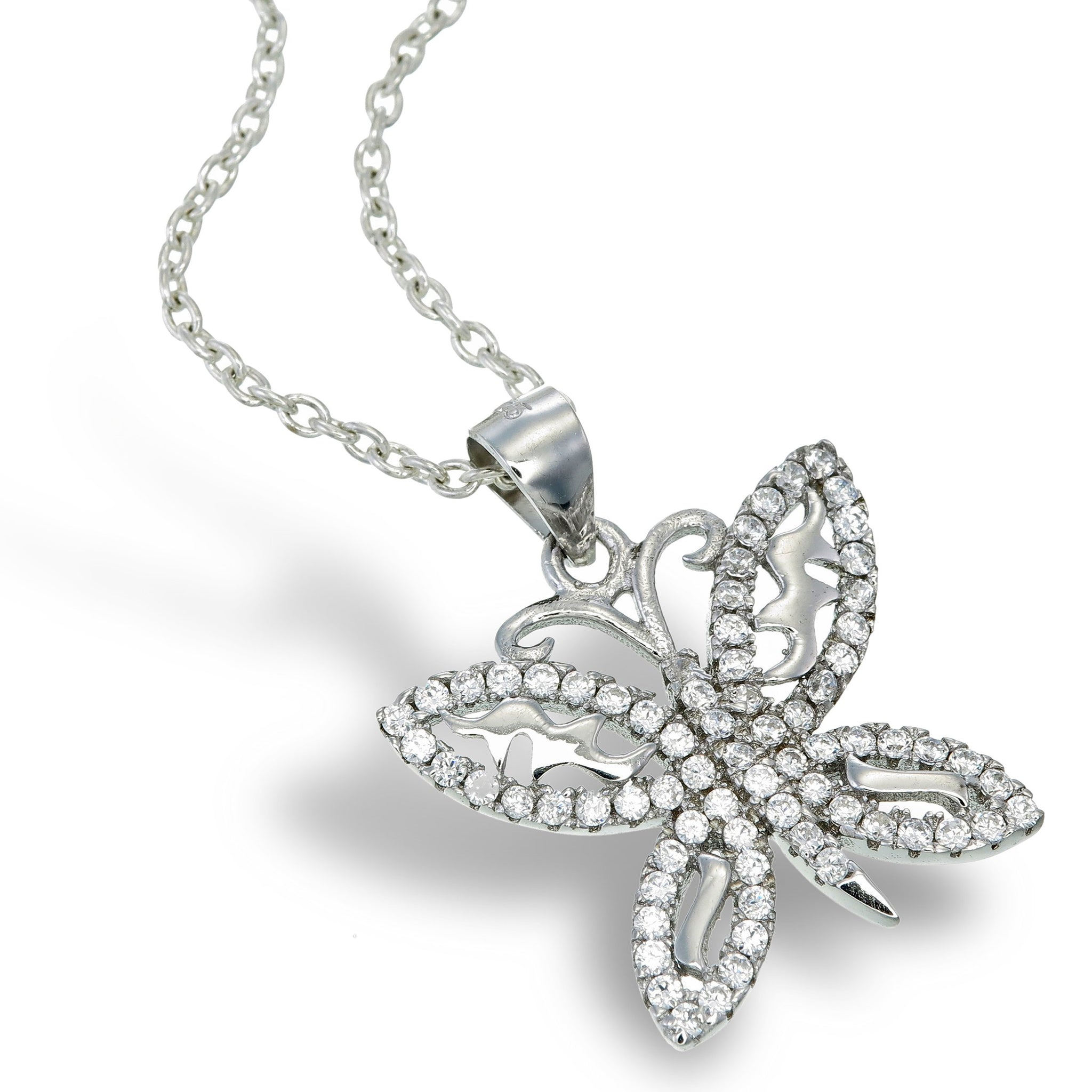 925 sterling silver butterfly pendant with cubic zirconia. (ZJP2331)