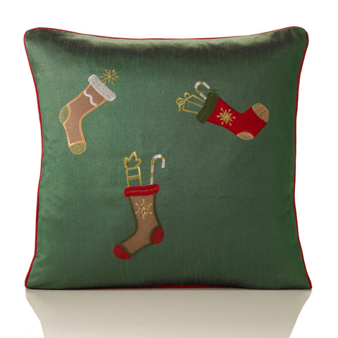 Embroidered Christmas Stocking Cushion Cover - Green