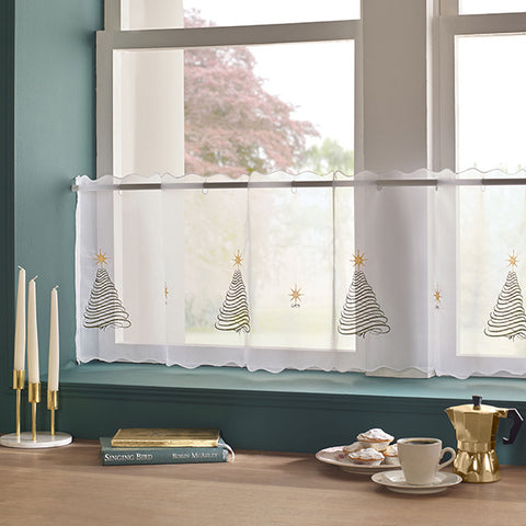 Christmas Tree Voile Cafe Panel 45cm Drop