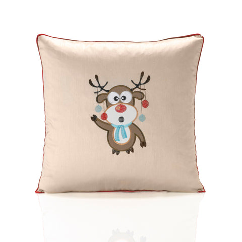 Embroidered Christmas Rudolph Cushion Cover - Cream