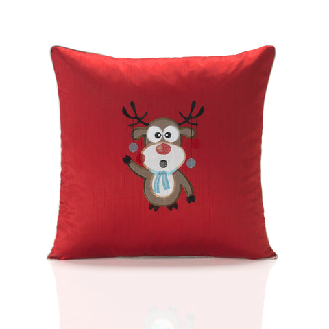 Embroidered Christmas Rudolph Cushion Cover - Red