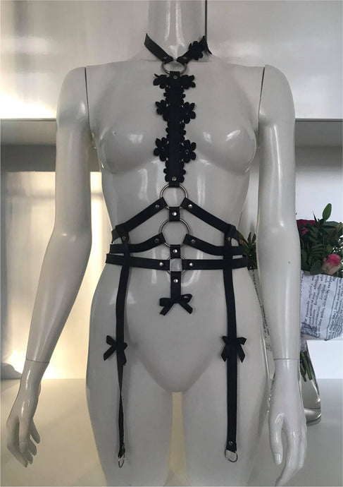 Divine black leather harness - Amoreze
