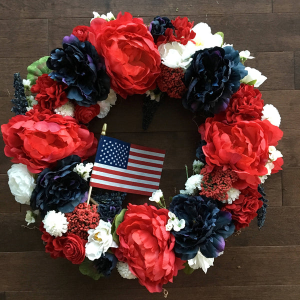 Spring Wreath, Memorial Day Wreath, Wreaths for Front Door, USA Wreath, Red White and Blue Wreath, Wreaths for Door, Patriotic Wreath
