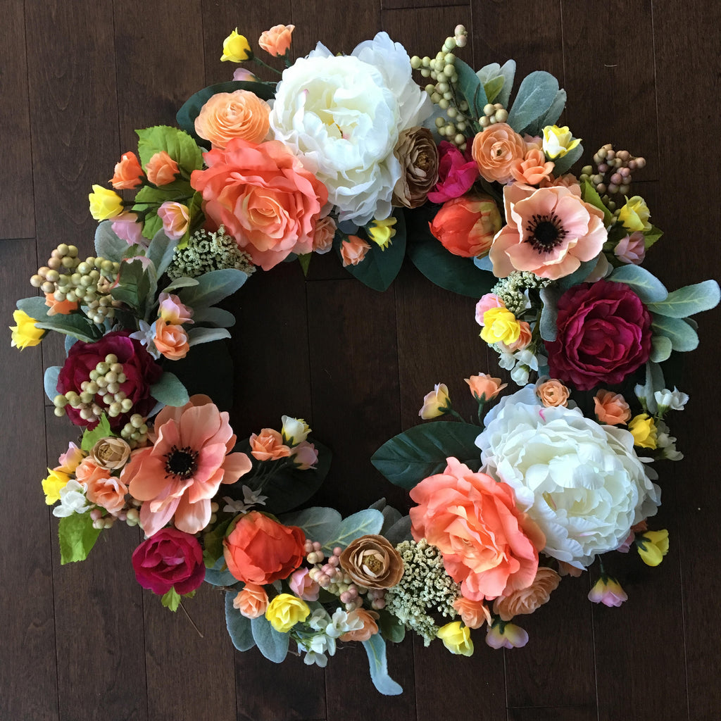 Wreaths for Front Door, Summer Wreath, Front Door Wreaths, Wreath With Roses, Year Round Wreath, Door Hanger, Fall Wreath