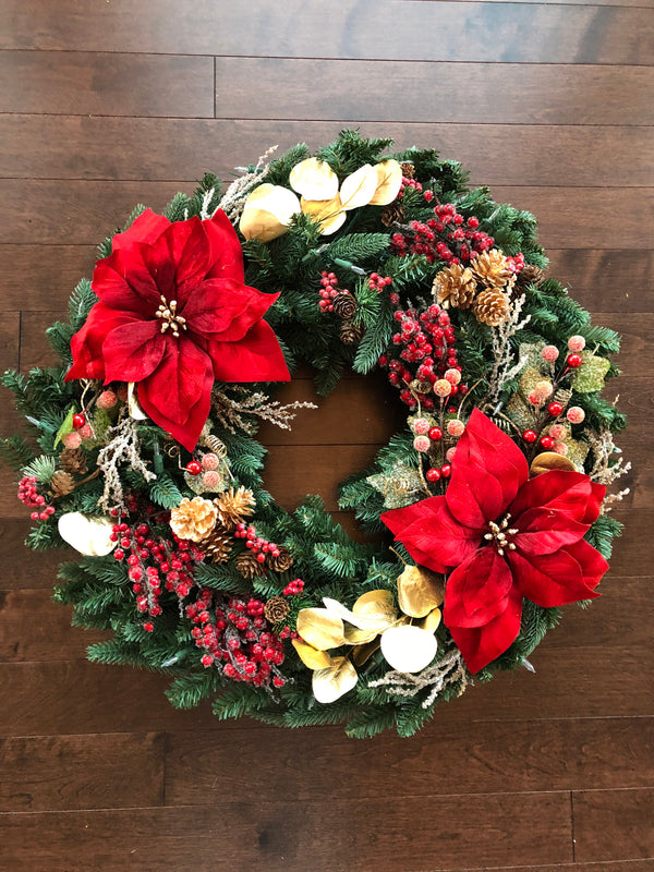 Elegant Christmas Wreath, Christmas Wreaths for Front Door, Large Christmas Wreath, Christmas Decorations, Christmas Wreath with Lights