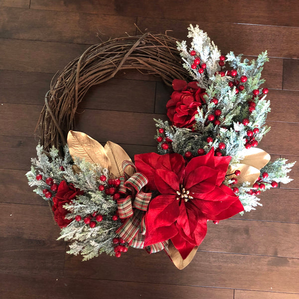 Christmas Wreaths for Front Door, Elegant Christmas Decorations, Christmas Wreath with Bow, Christmas Wreath, Holiday Wreaths for Front Door