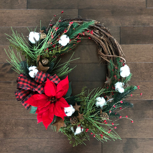 Winter Wreath, Country Wreath, Wreaths for Front Door, Cotton Wreath, Christmas Wreath with Bow, Rustic Wreath, Country Decorations