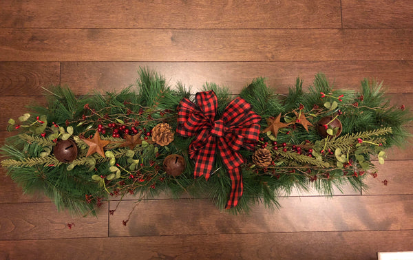 Christmas Swags for Front Door, Country Christmas Decorations, Country Christmas, Christmas Swags for Mantle, Christmas Decorations