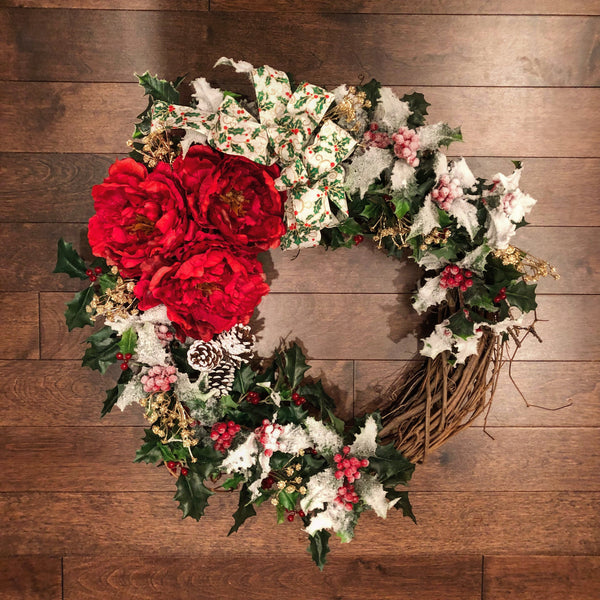 Winter Wreaths for Front Door, Winter Decorations, Holly Wreath, Winter Wreath, with Bow, Holiday Decor, Wreaths for Front Door