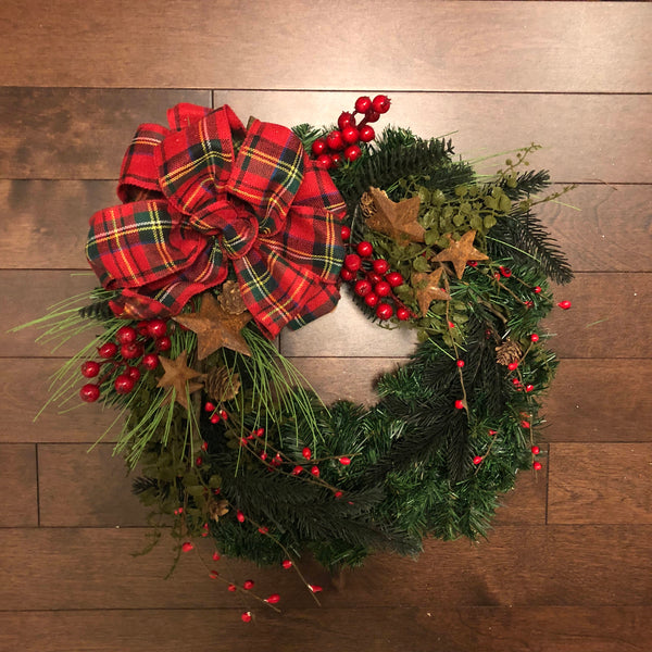 Country Christmas Wreath, Country Christmas Decorations, Christmas Wreaths for Front Door, Holiday Wreath, Christmas Wreath with Bow