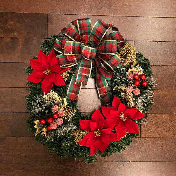 Christmas Wreath with Bow, Christmas Wreaths for Front Door,  Christmas Decorations, Christmas Wreath, Holiday Wreath, Wreath Christmas