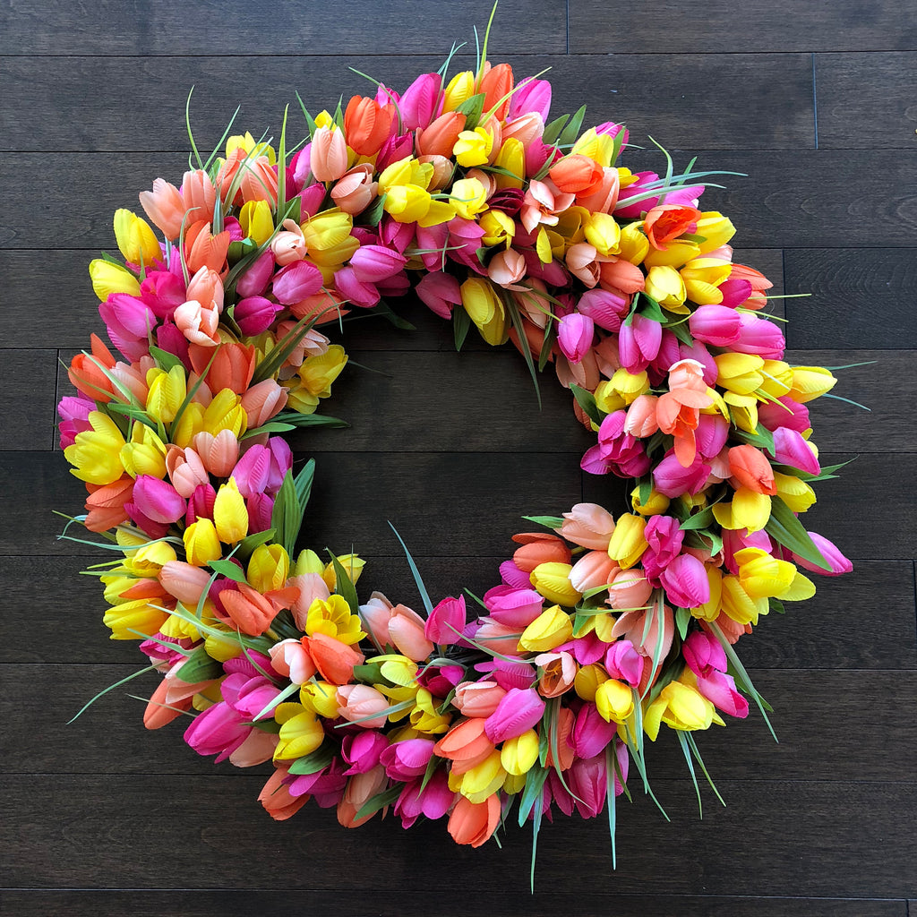 Tulip Wreath, Easter Wreath Modern, Spring Wreath, Wreaths for Front ...