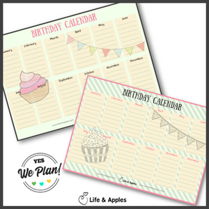 Perpetual Birthday Calendar Printable _ Life & Apples Free Printables