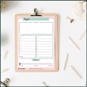 project planner printable free life & apples