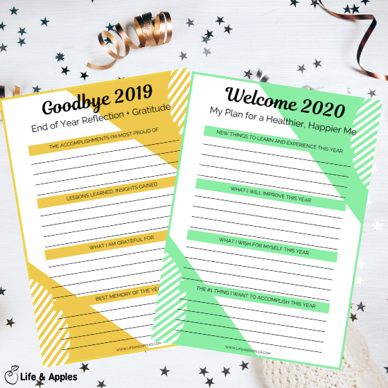 2020 goals plan free printable life & apples