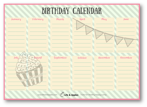 birthday calendar free printable